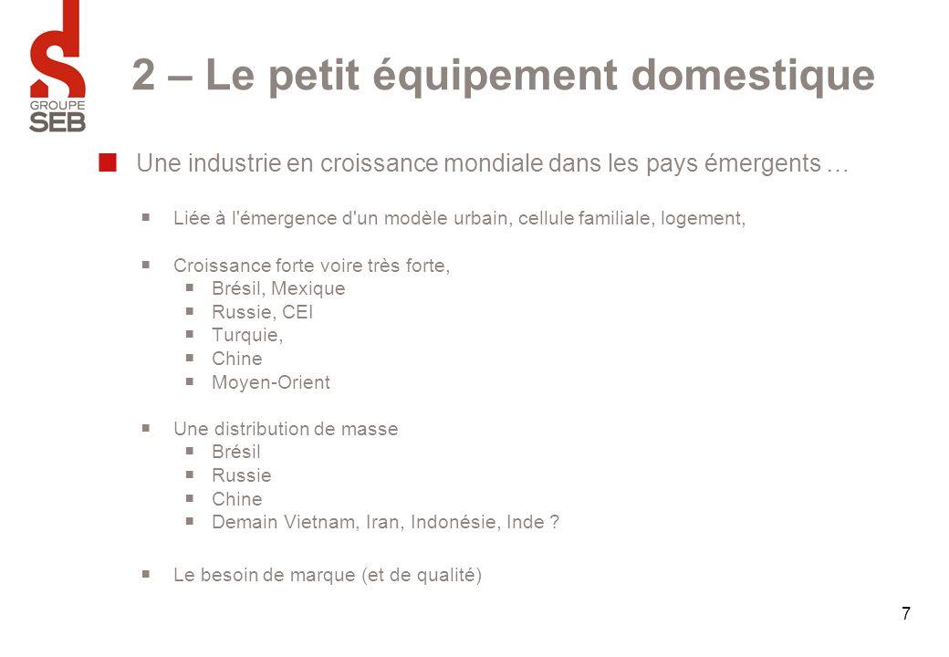 2 – Le petit équipement domestique