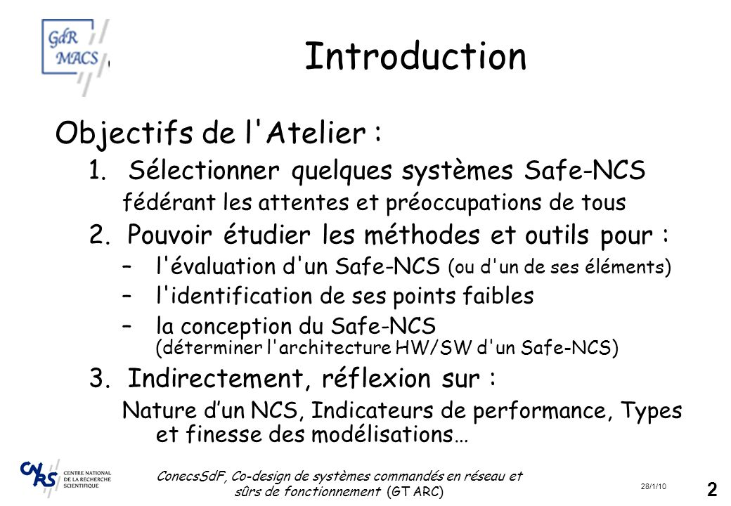 Introduction Objectifs de l Atelier :