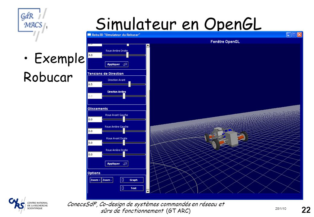 Simulateur en OpenGL Exemple Robucar