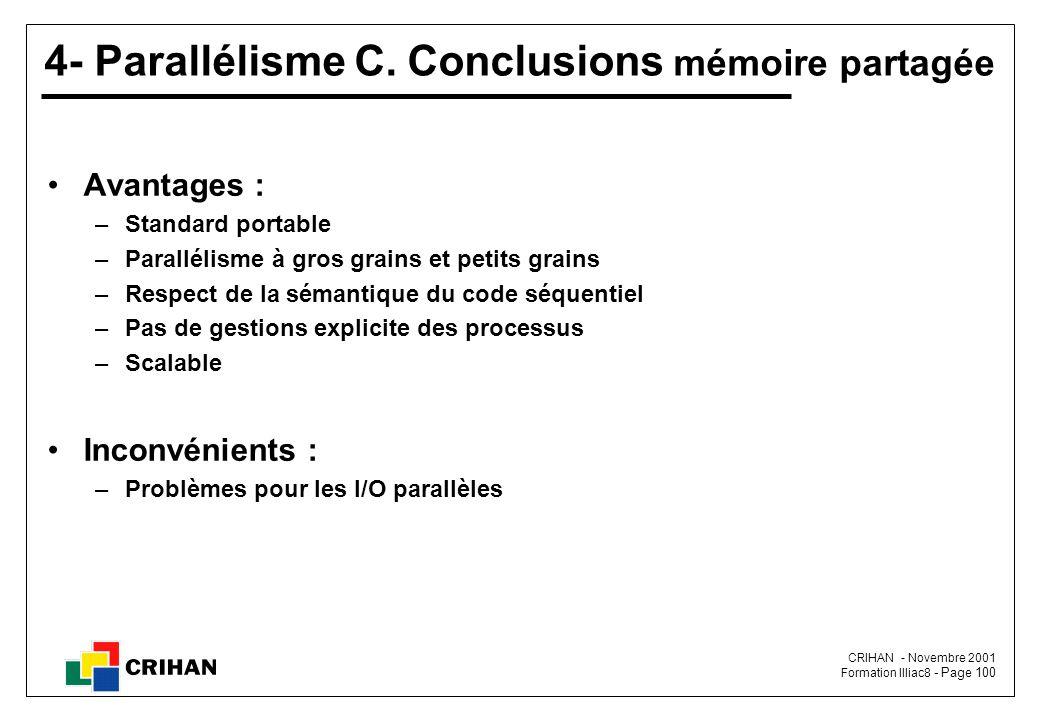 4- Parallélisme C. Conclusions mémoire partagée