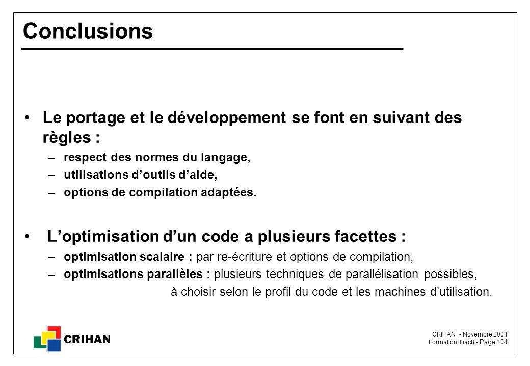 Conclusions Le portage et le développement se font en suivant des règles : respect des normes du langage,