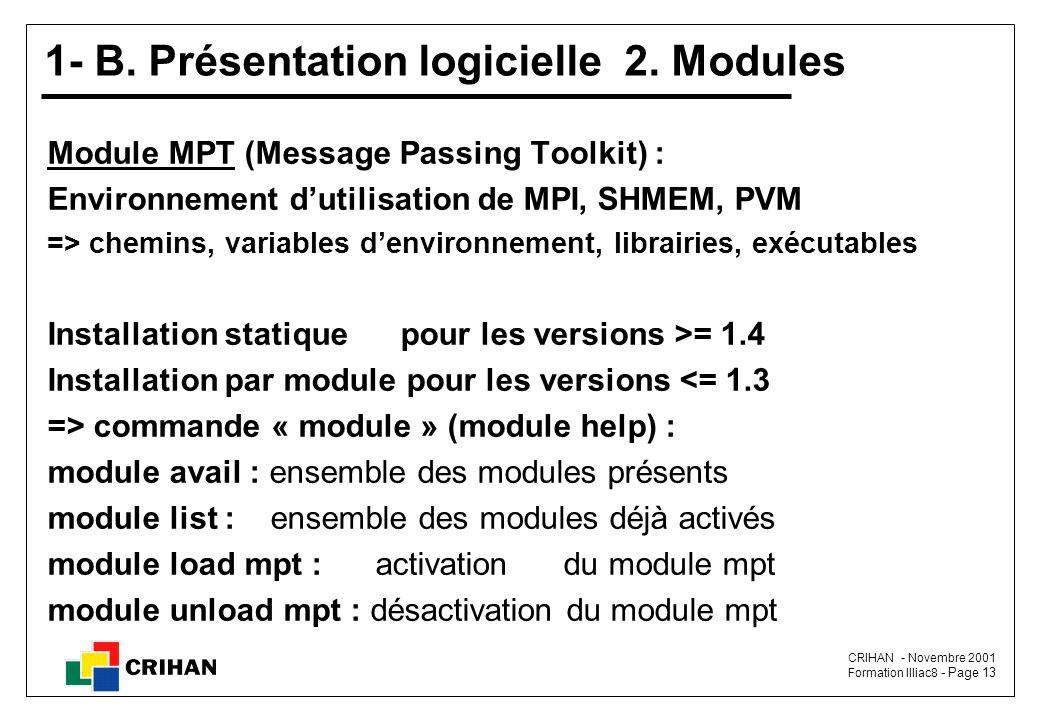 1- B. Présentation logicielle 2. Modules