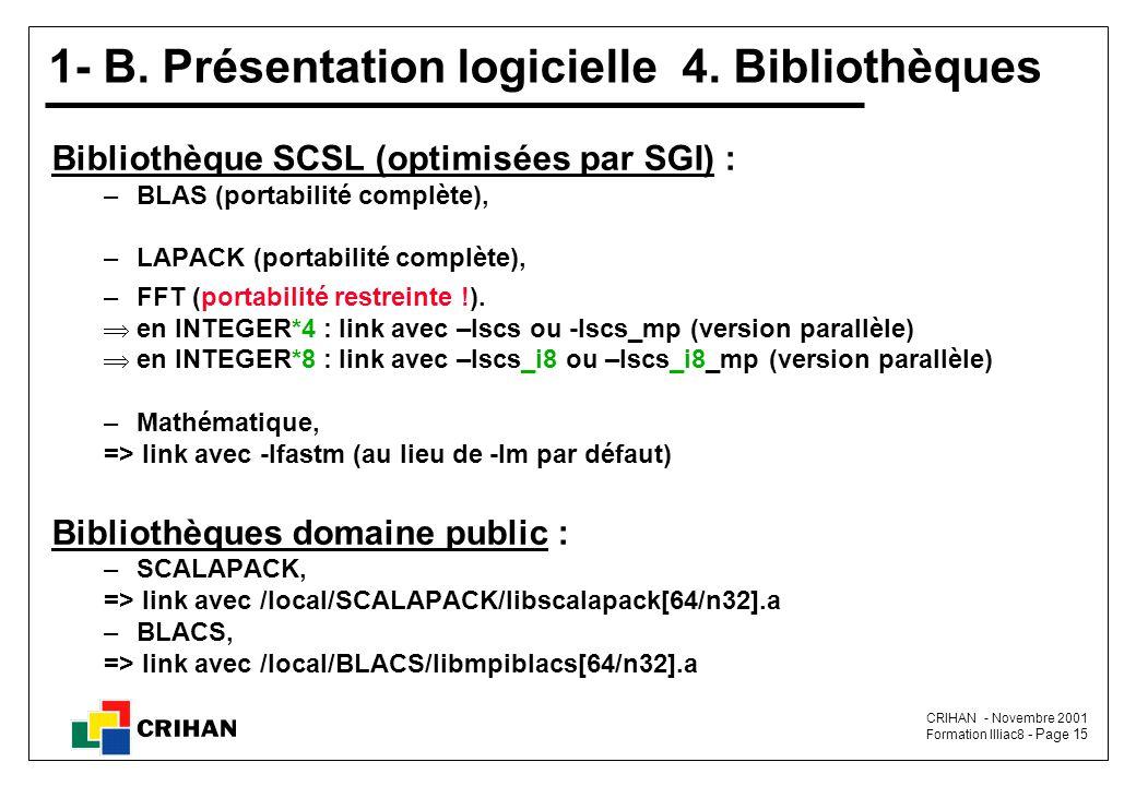 1- B. Présentation logicielle 4. Bibliothèques