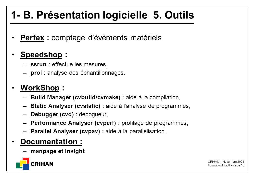 1- B. Présentation logicielle 5. Outils