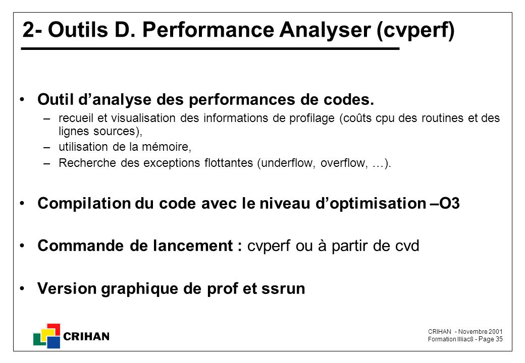2- Outils D. Performance Analyser (cvperf)