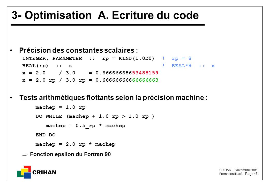 3- Optimisation A. Ecriture du code