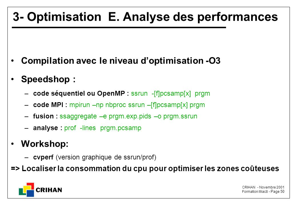 3- Optimisation E. Analyse des performances
