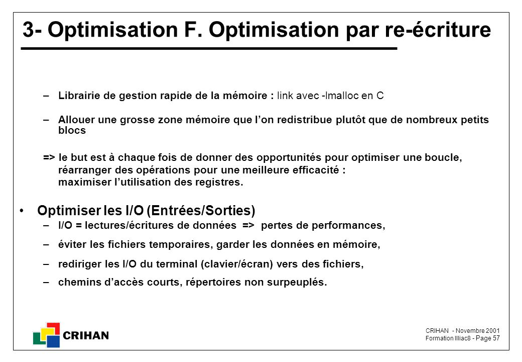 3- Optimisation F. Optimisation par re-écriture