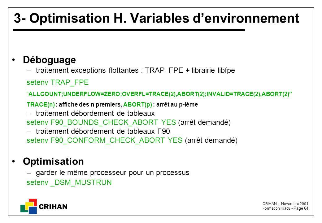 3- Optimisation H. Variables d'environnement