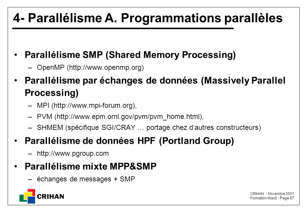 4- Parallélisme A. Programmations parallèles