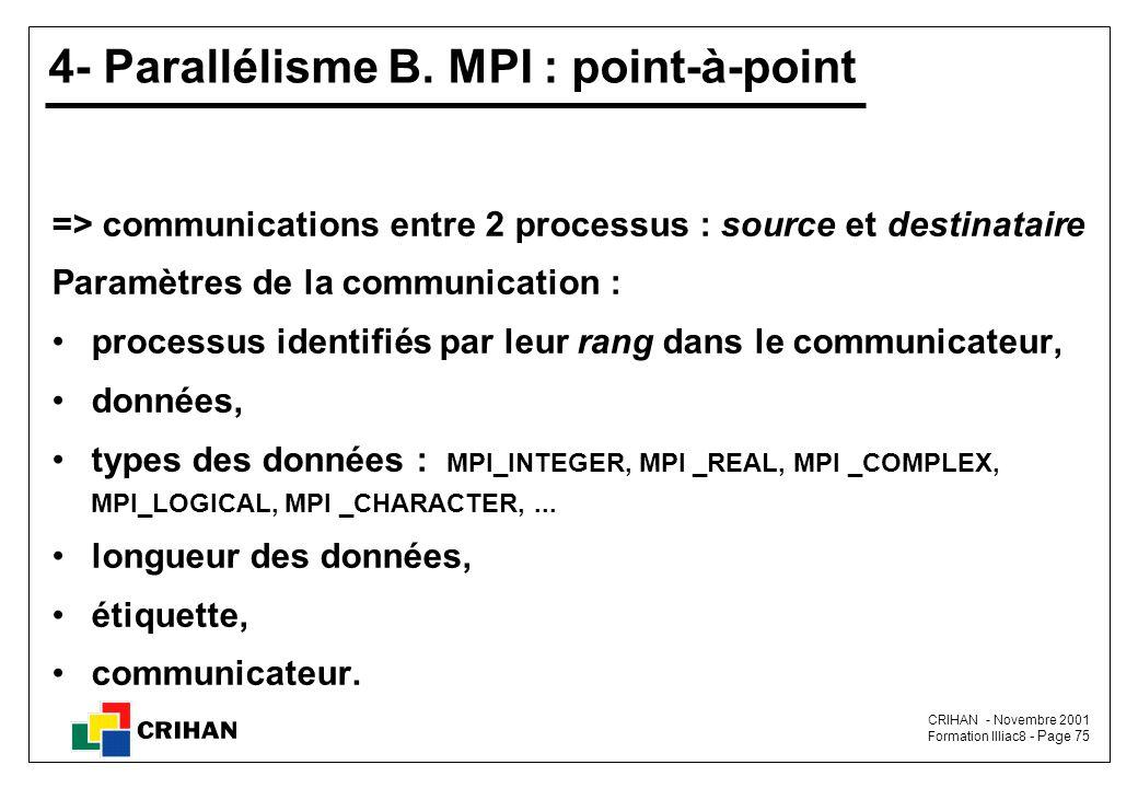 4- Parallélisme B. MPI : point-à-point