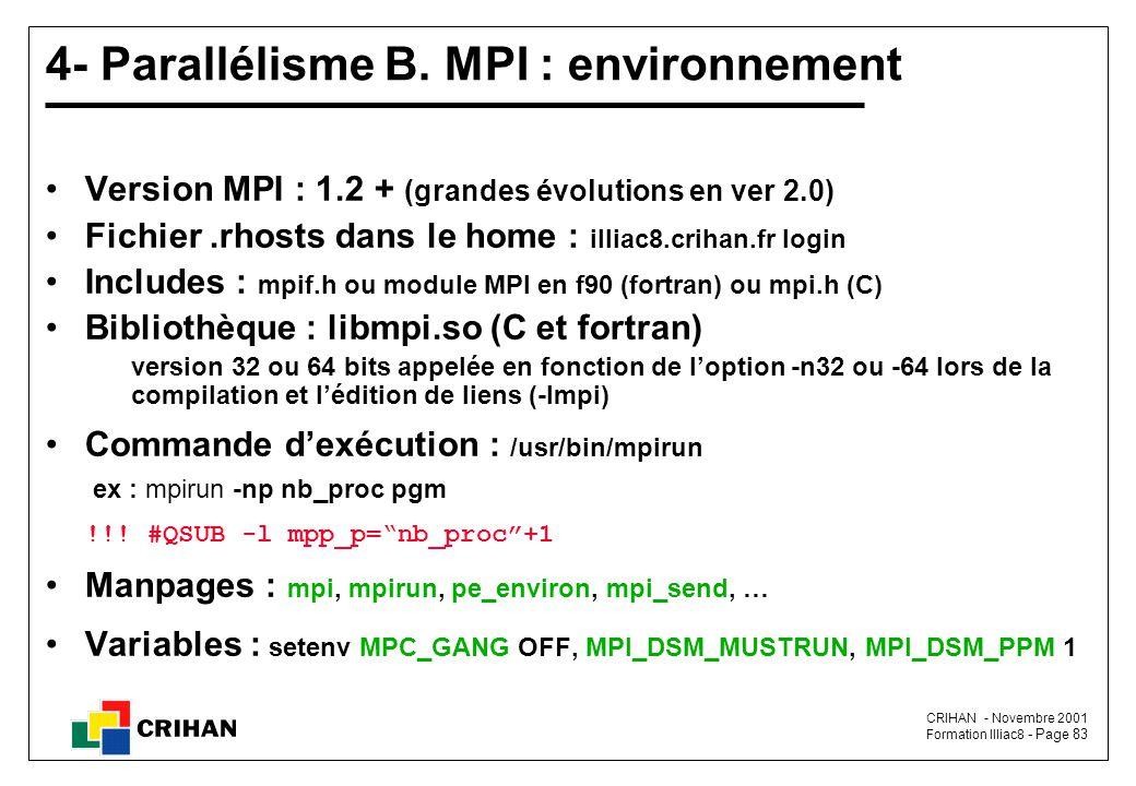 4- Parallélisme B. MPI : environnement