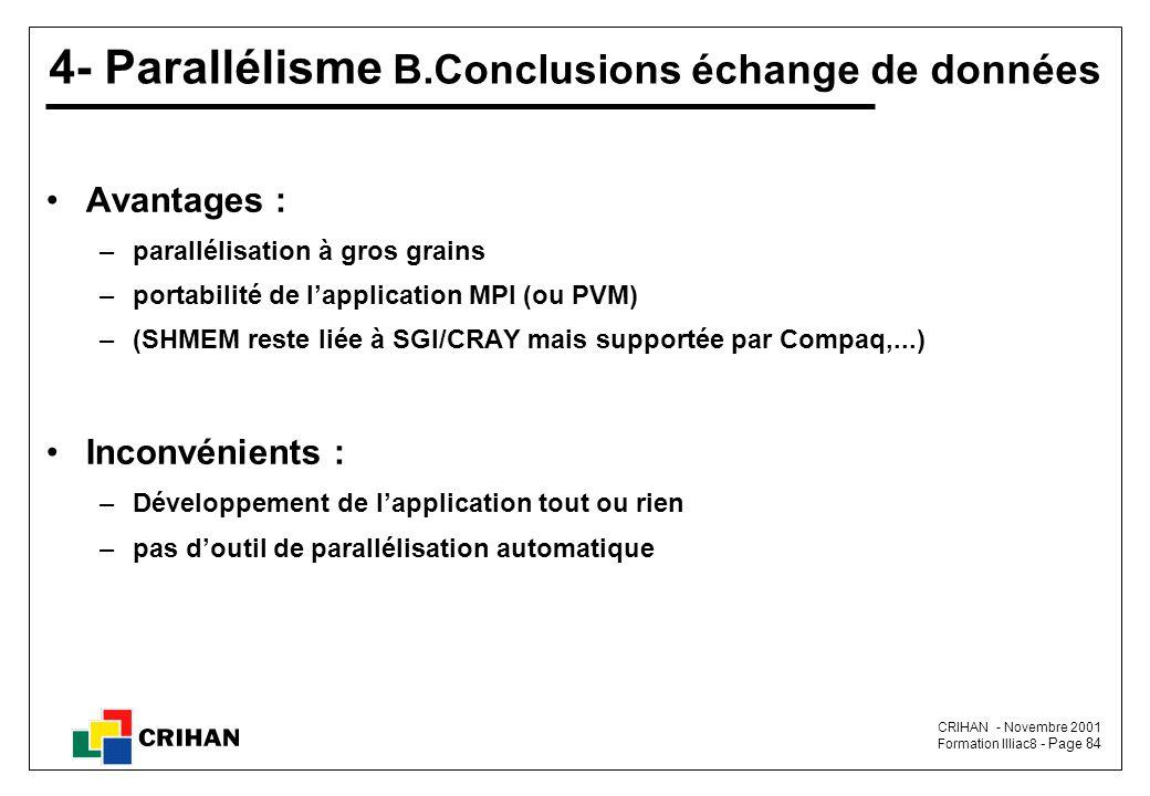 4- Parallélisme B.Conclusions échange de données