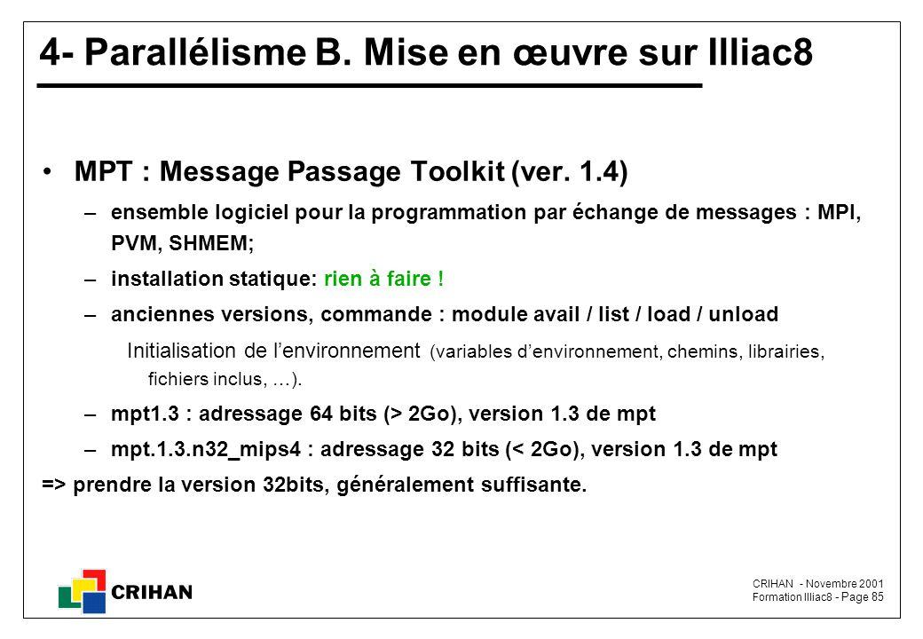 4- Parallélisme B. Mise en œuvre sur Illiac8