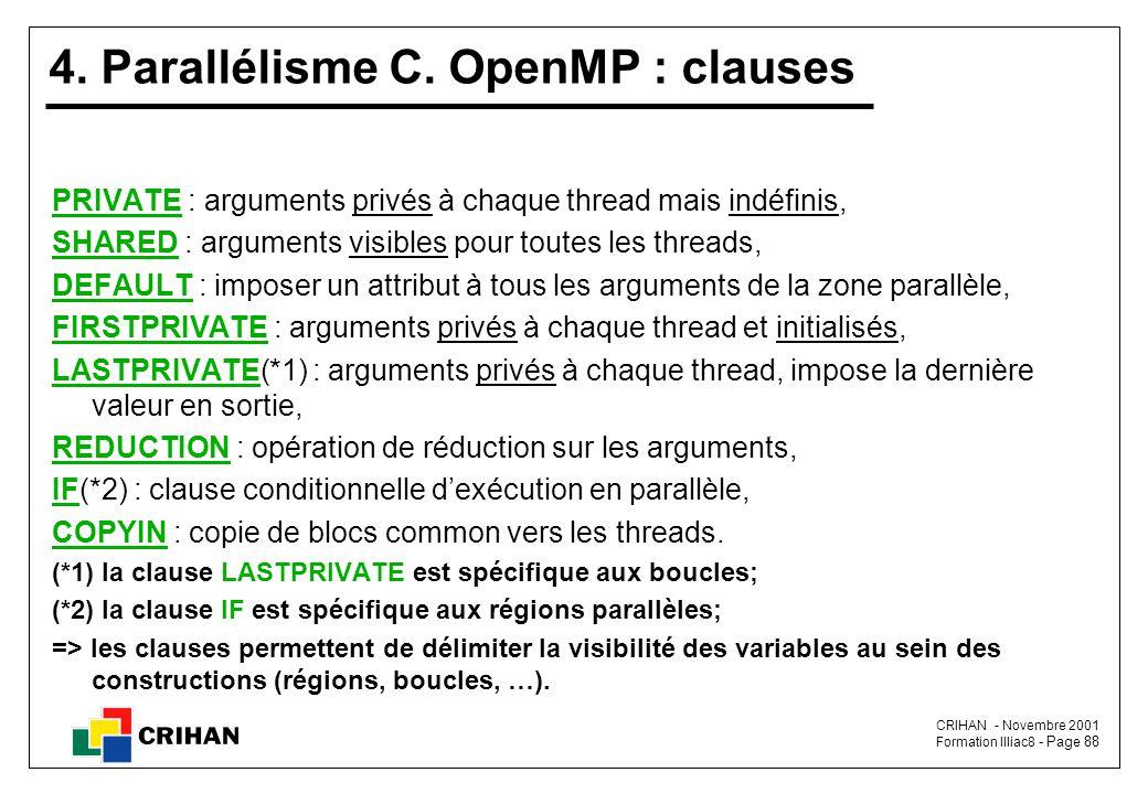 4. Parallélisme C. OpenMP : clauses