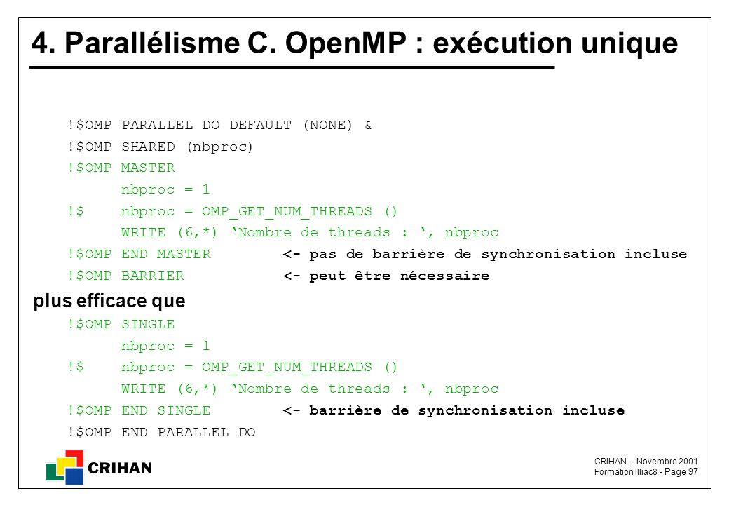 4. Parallélisme C. OpenMP : exécution unique