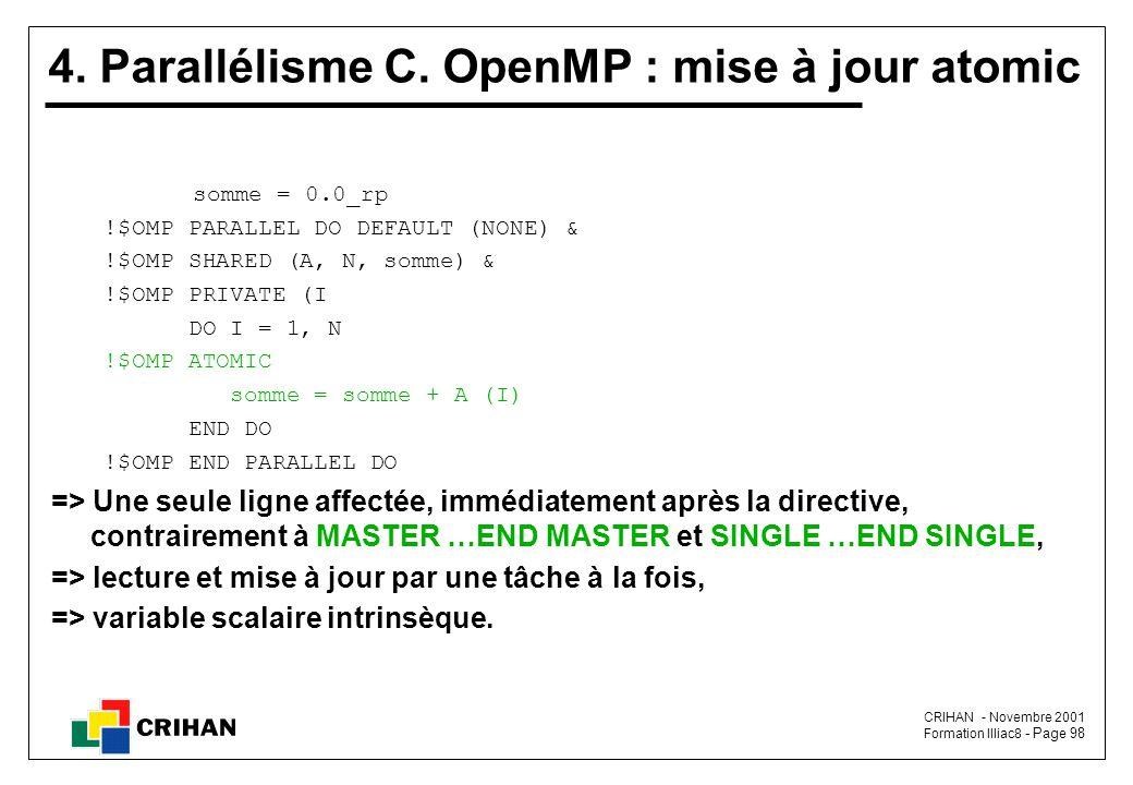 4. Parallélisme C. OpenMP : mise à jour atomic
