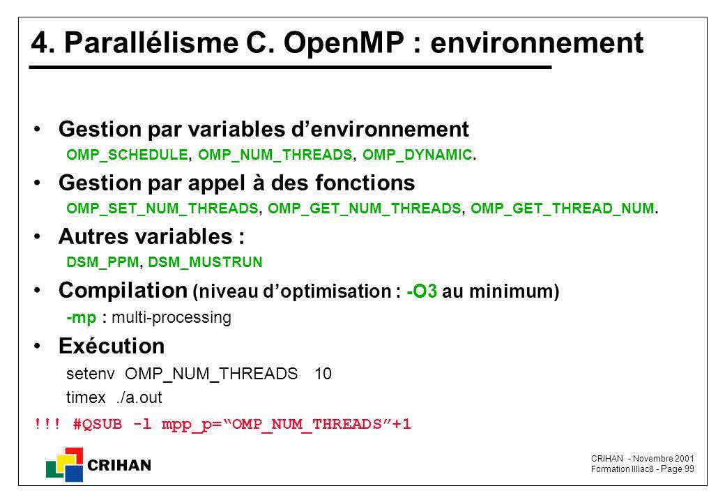 4. Parallélisme C. OpenMP : environnement