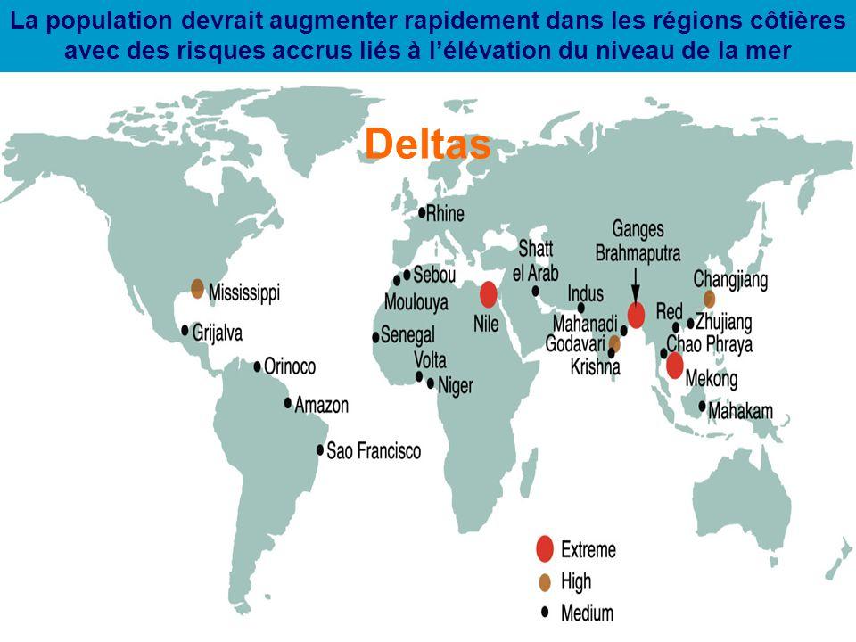 La population devrait augmenter rapidement dans les régions côtières avec des risques accrus liés à l'élévation du niveau de la mer