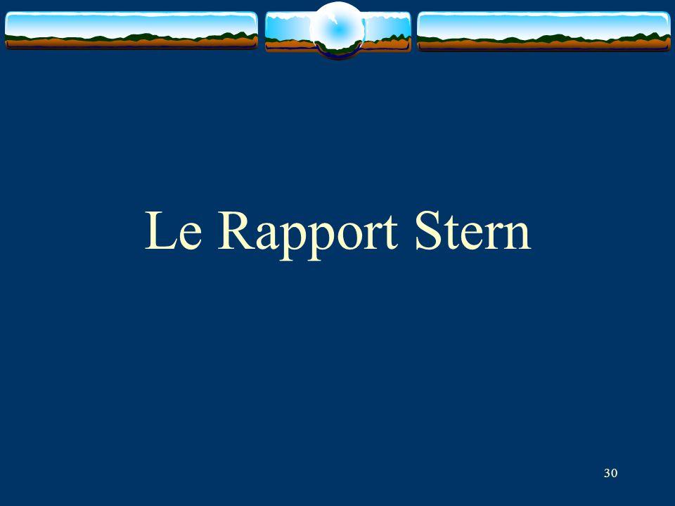 Le Rapport Stern Pour présentation pédagogique du problème du taux d'actualisation, cf.