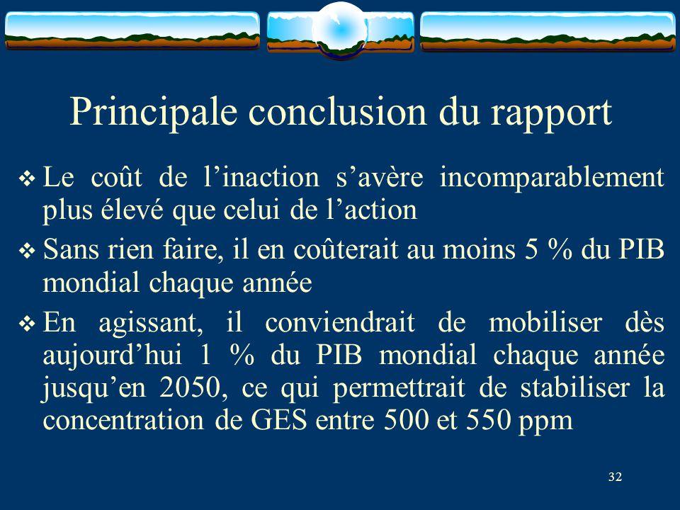 Principale conclusion du rapport