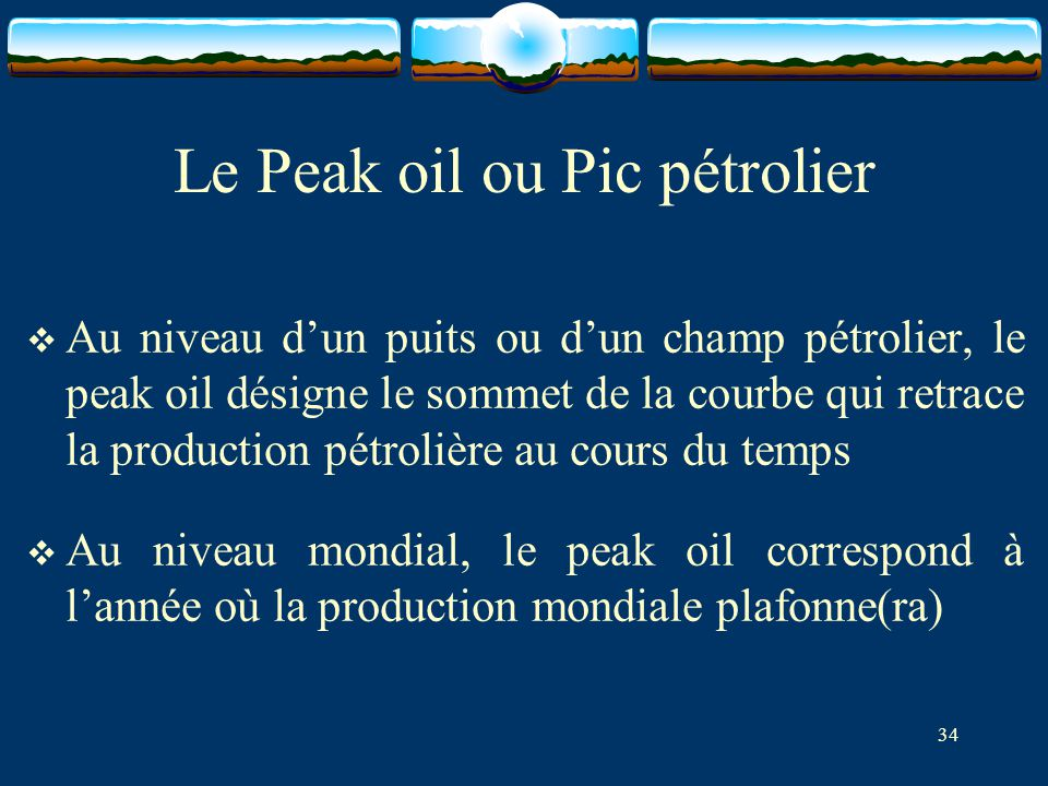 Le Peak oil ou Pic pétrolier