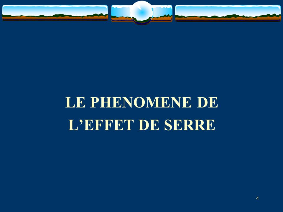 LE PHENOMENE DE L'EFFET DE SERRE