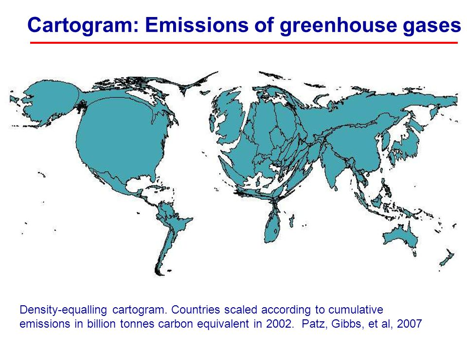 Cartogram: Emissions of greenhouse gases