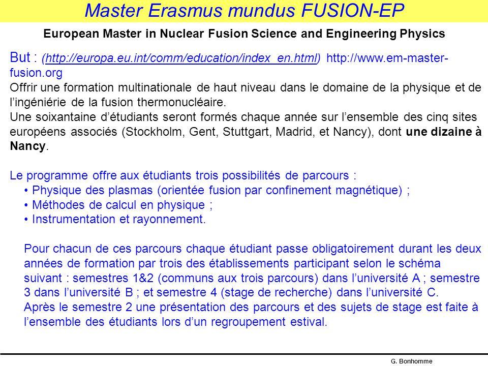 Master Erasmus mundus FUSION-EP