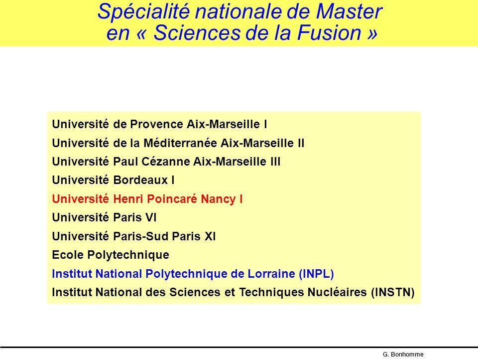 Spécialité nationale de Master en « Sciences de la Fusion »