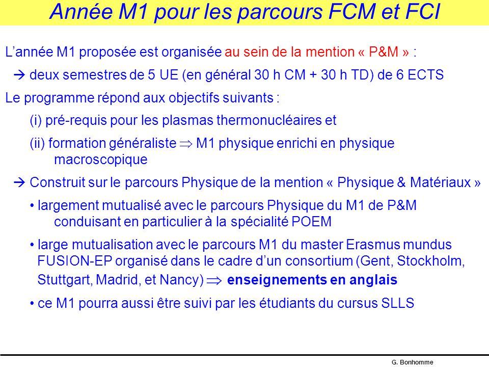 Année M1 pour les parcours FCM et FCI