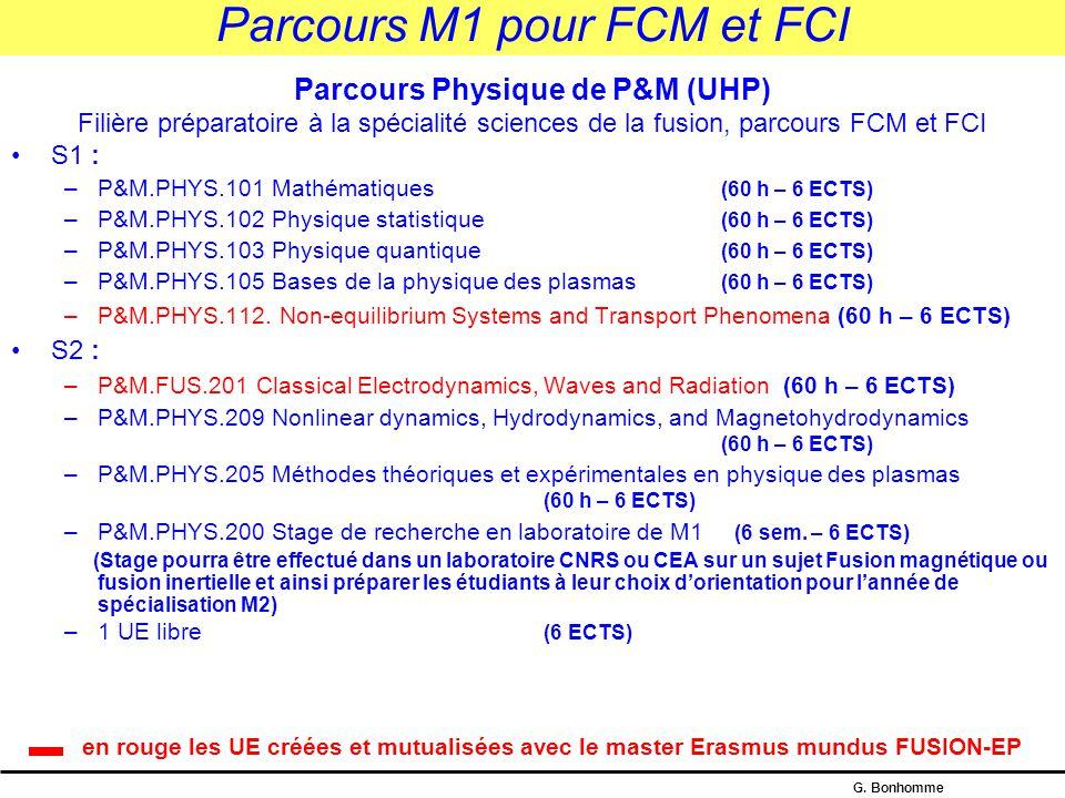 Parcours M1 pour FCM et FCI