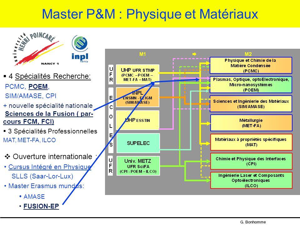 Master P&M : Physique et Matériaux