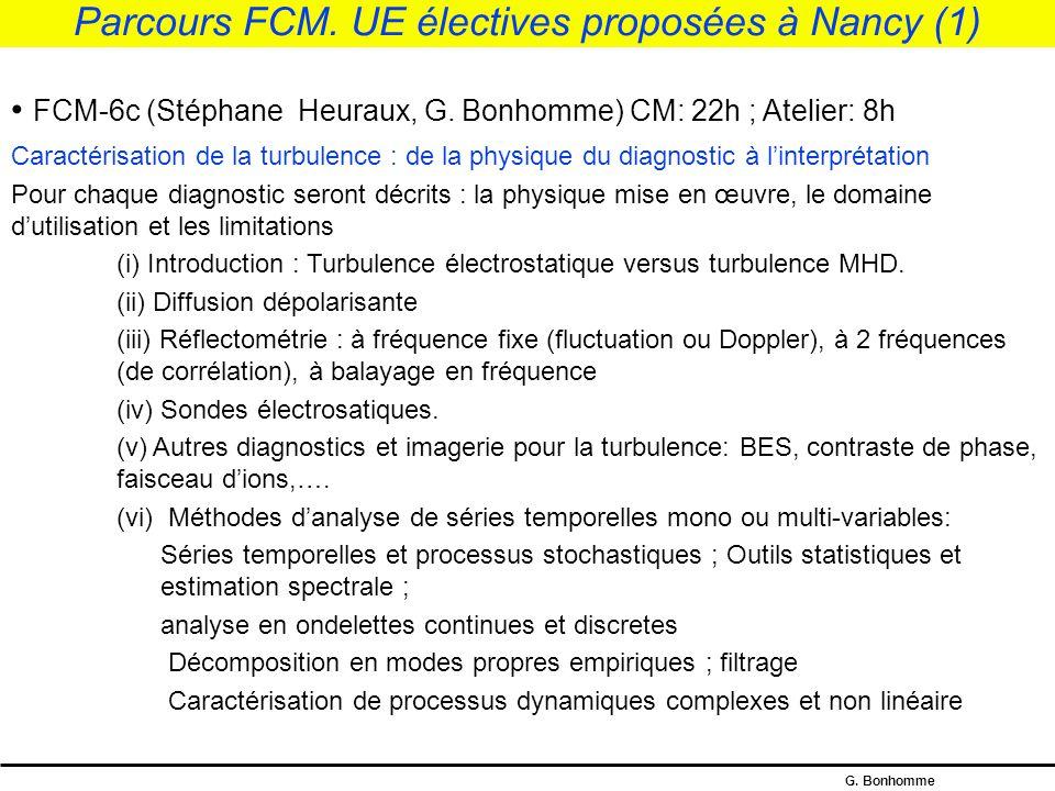 Parcours FCM. UE électives proposées à Nancy (1)