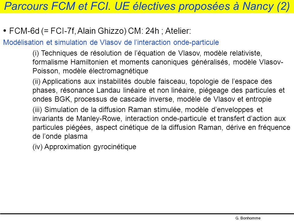 Parcours FCM et FCI. UE électives proposées à Nancy (2)