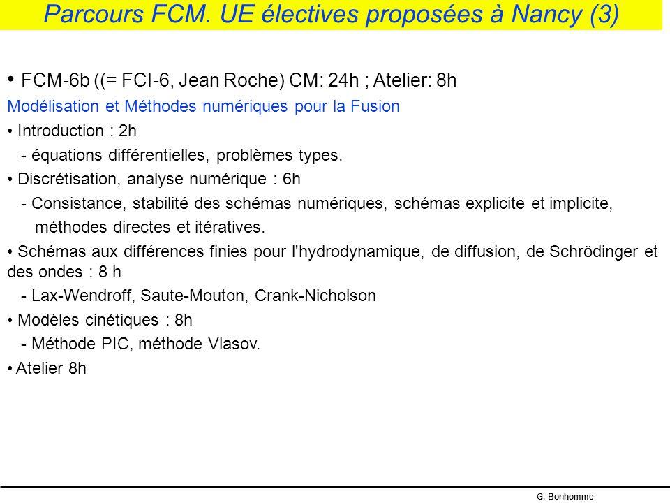 Parcours FCM. UE électives proposées à Nancy (3)