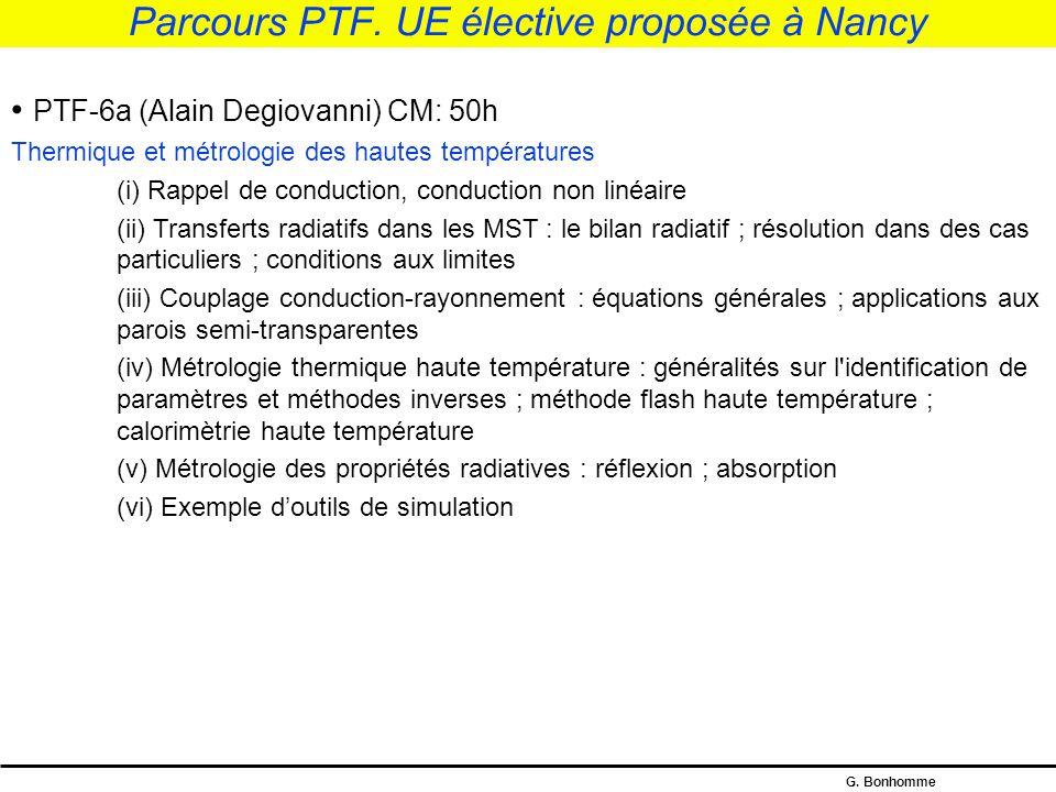 Parcours PTF. UE élective proposée à Nancy
