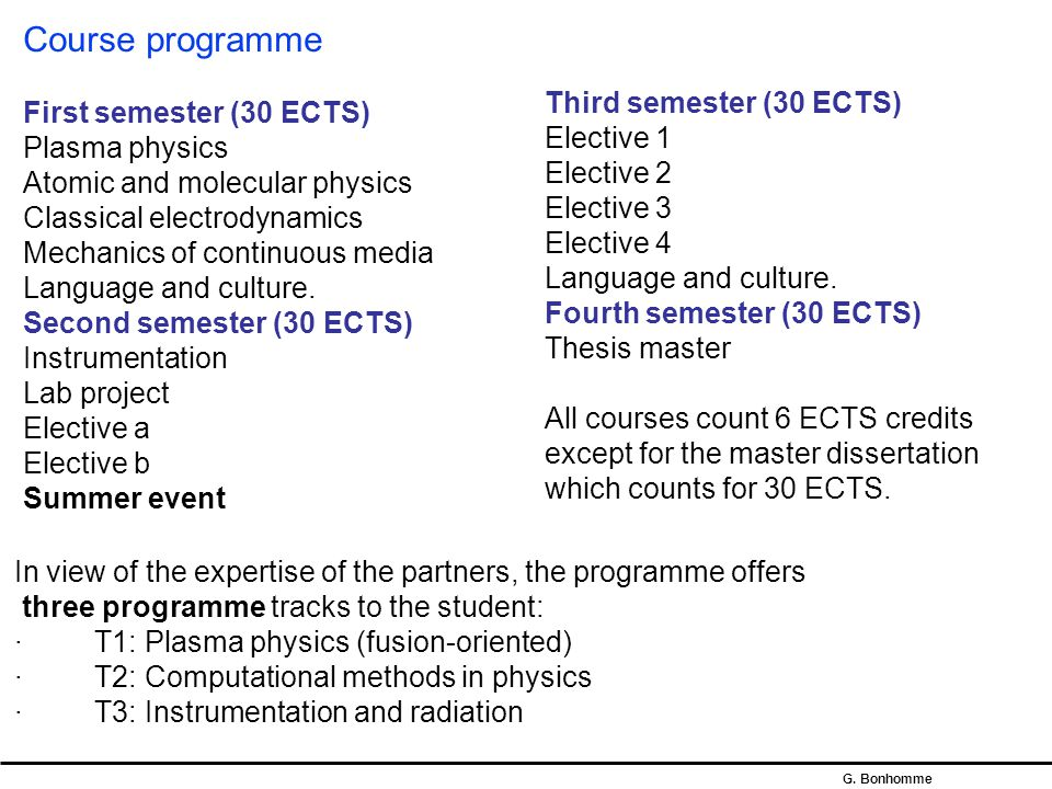 Course programme First semester (30 ECTS) Plasma physics