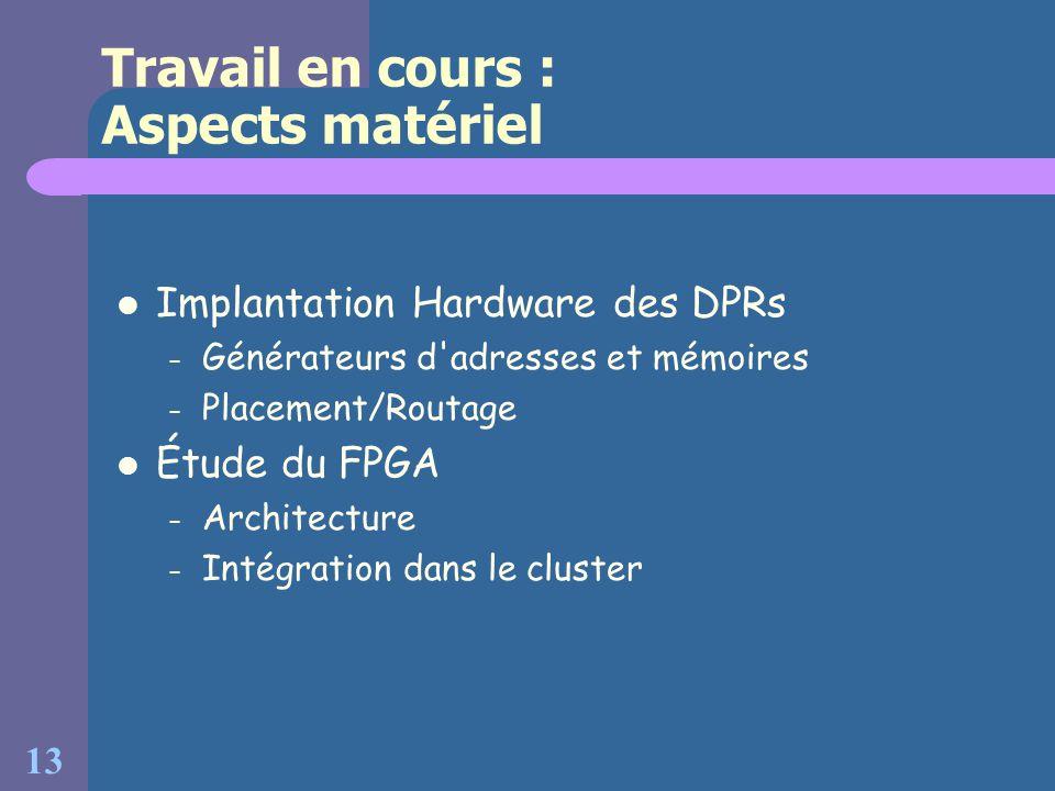 Travail en cours : Aspects matériel