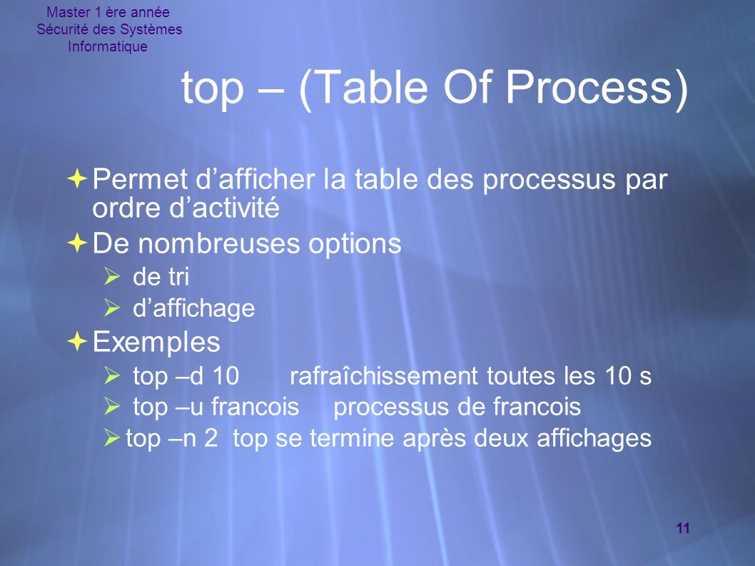 top – (Table Of Process)‏