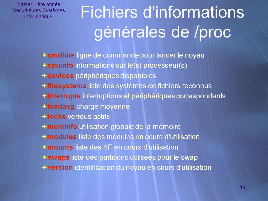 Fichiers d informations générales de /proc