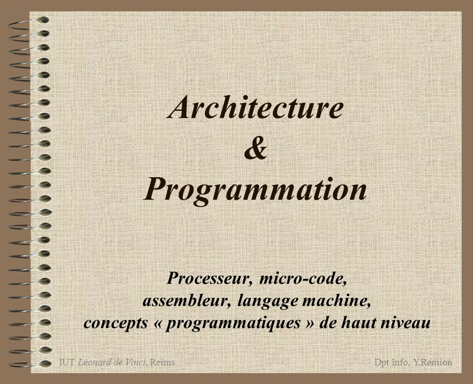 Architecture & Programmation
