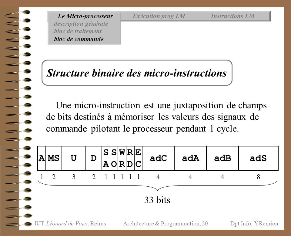 Structure binaire des micro-instructions