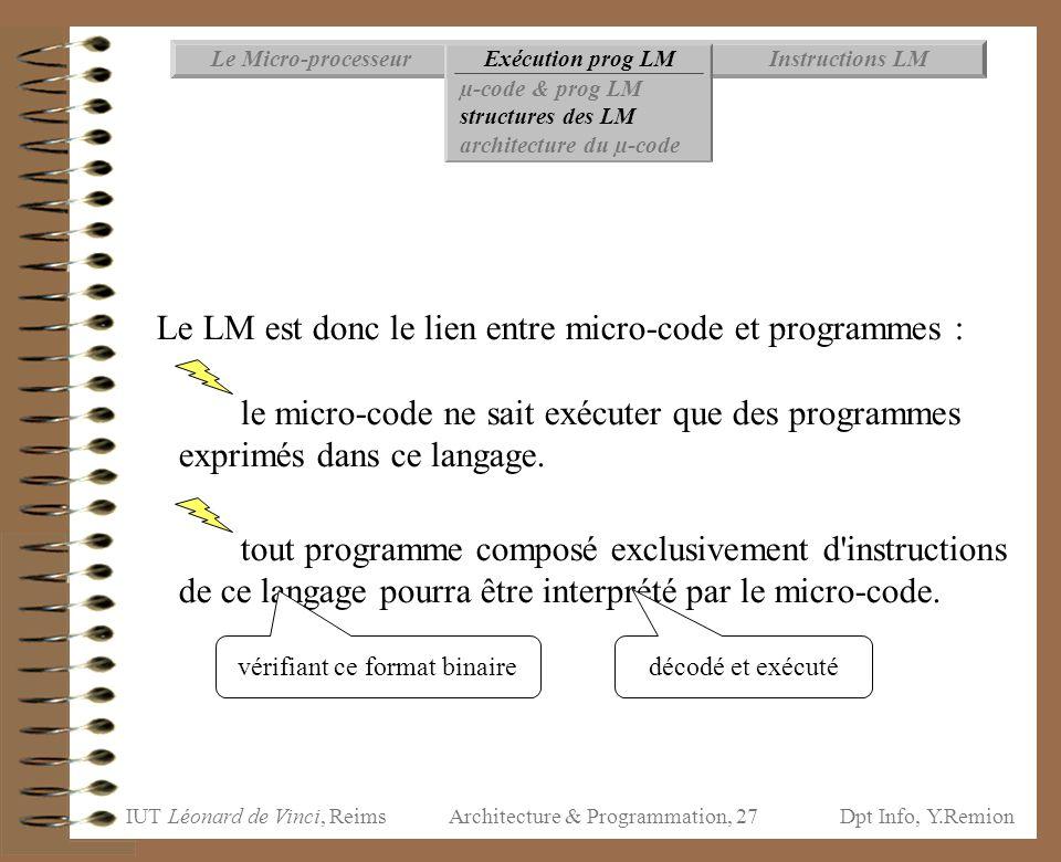 Le LM est donc le lien entre micro-code et programmes :