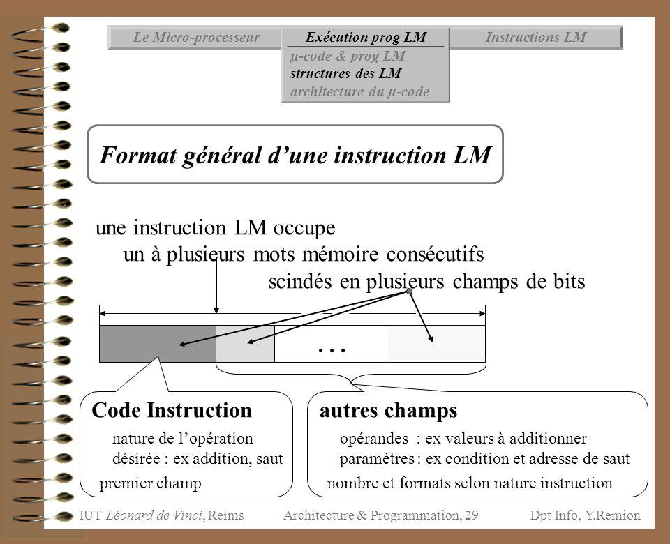 Format général d'une instruction LM