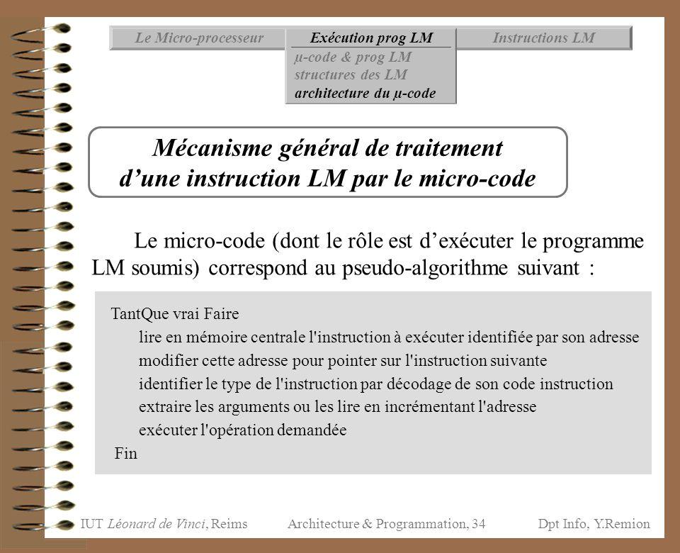Mécanisme général de traitement d'une instruction LM par le micro-code