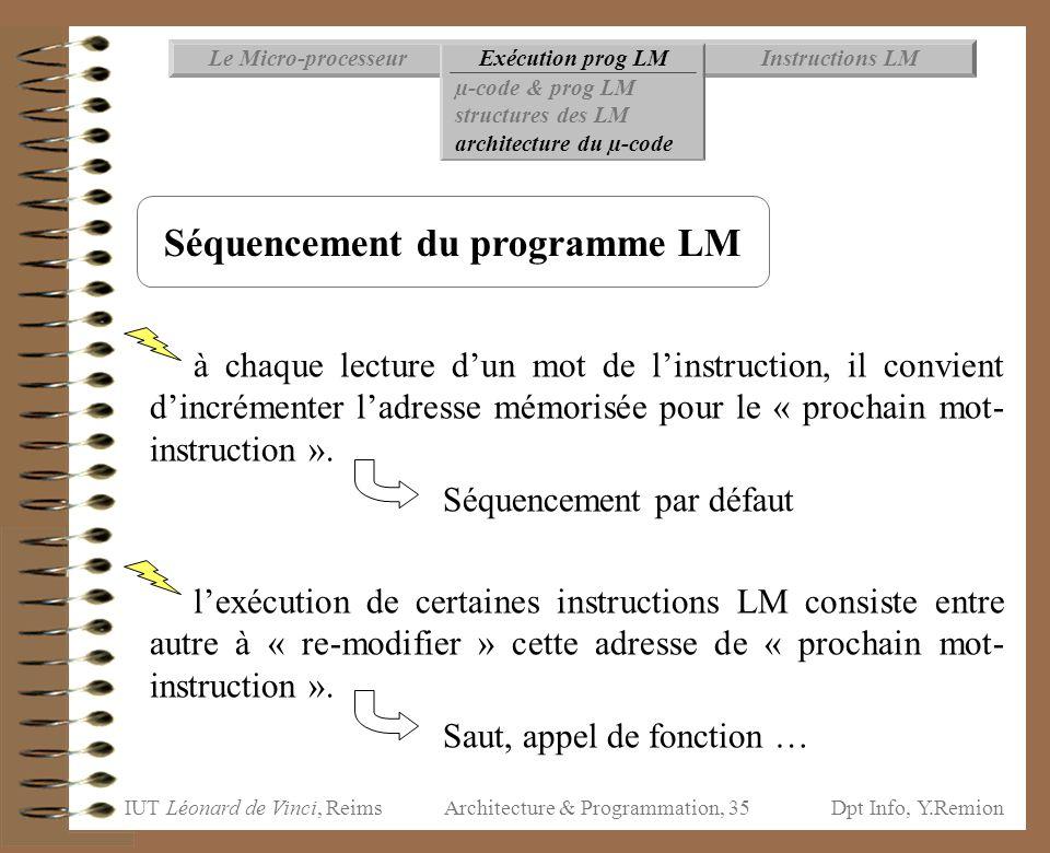 Séquencement du programme LM