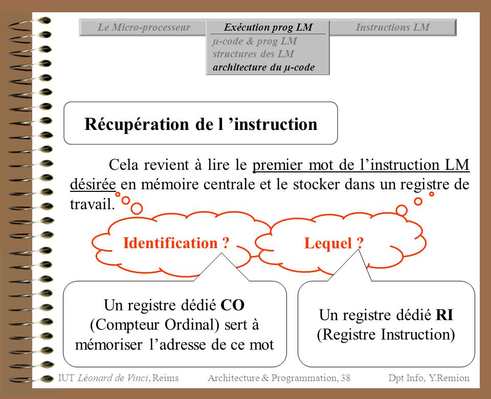 Récupération de l 'instruction