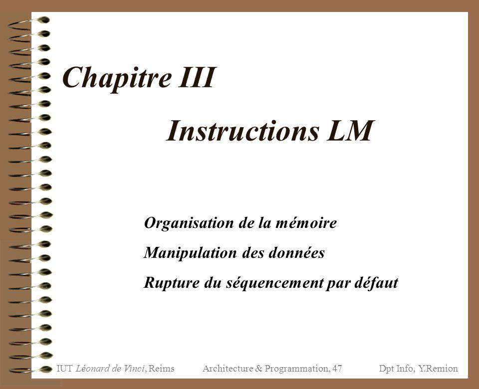 Chapitre III Instructions LM