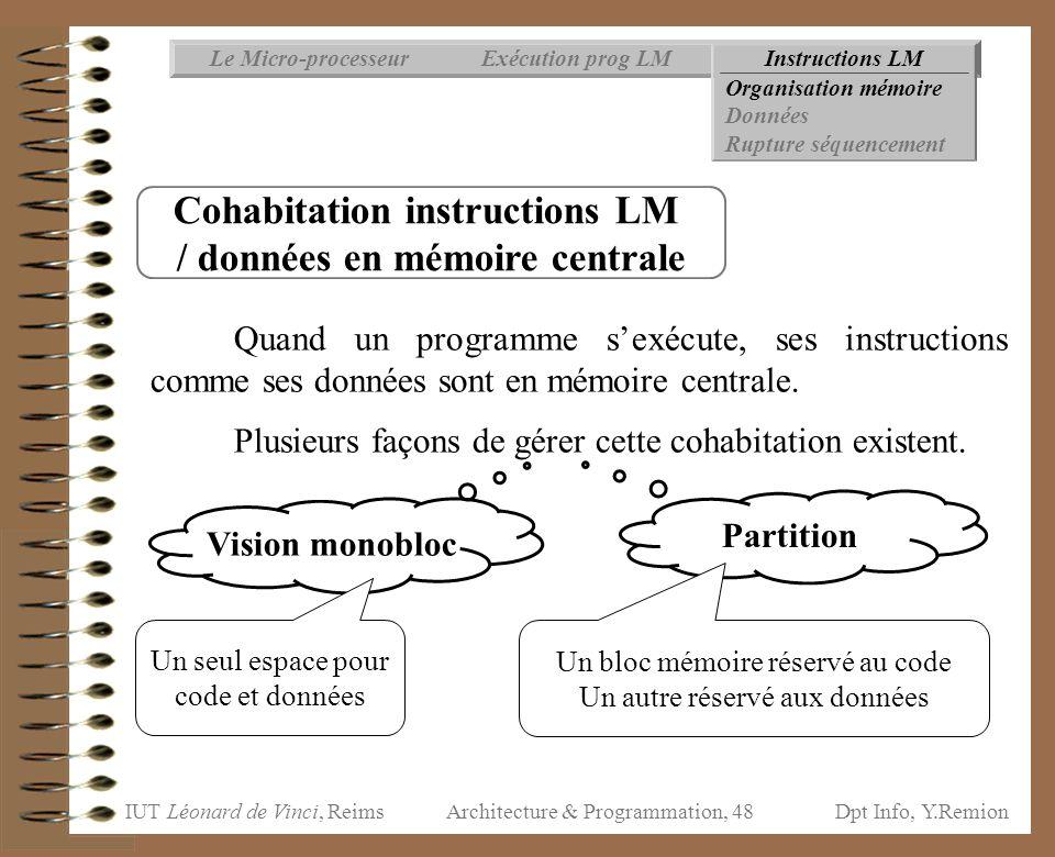 Cohabitation instructions LM / données en mémoire centrale